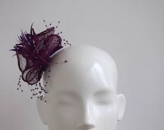 Purple Fascinator - Purple Headpiece - Purple Fascinator - Wedding Headpiece - Simple Modern Fascinator -  Feather Fascinator