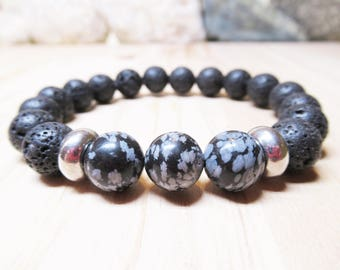Mens Bracelet Energy Bracelet Obsidian Lava Bracelet Healing Spiritual Protection Bracelet Beaded Gemstone Bracelet Gift for Him Meditation
