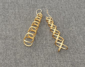 XOXO Tower - Brass Earings made using 3D printing technology/3d printed earrings