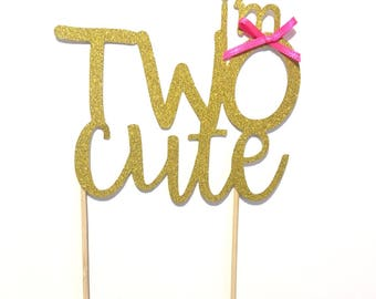 1 pc TWO CUTE script fonts bow Gold Glitter Cake Topper Toddler girl second Birthday