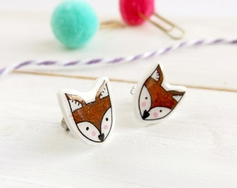 Fox stud earrings. Fox earrings. Fox studs. Cute earrings. Fox jewellery. Kawaii earrings. Animal earrings. Hypoallergenic studs.