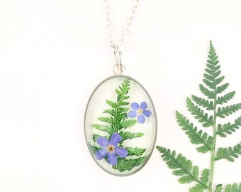 Woodland necklace, Sterling silver pendant with fern, Botanical necklace, Early Christmas gift for mom,Forest jewelry, Pressed forget me not