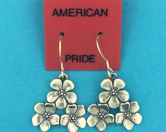 Sterling Silver Flower Bouquet Earrings
