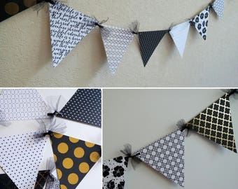 Black and White Party Banner, modern black and white banner, black white and gold decor, baby shower decor, pennant bunting, bunting banner