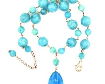 "12mm faceted blue quartz round beads necklace 16"" 37112"