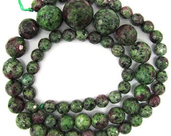 "6-14mm faceted ruby zoisite jade round beads 18"" strand 35290"