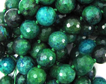 "12mm faceted blue green azurite round beads 6"" strand 15531"