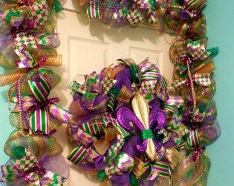 SALE Mardi Gras Garland, Mardi Gras Garlands, Garland, Mardi gras wreath, Mardi gras Wreaths, Mardi gras, Fleur de lis wreath,