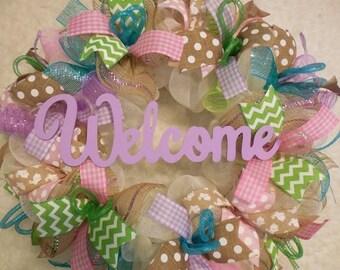 SALE Easter Wreath, Easter Wreaths, Wreath, Happy Easter Wreath, Egg Wreath, Easter Decor, Mesh Easter Wreath, Bunny Wreath
