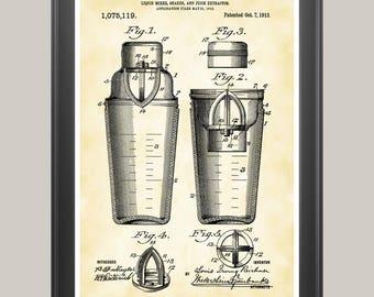 Drink Shaker Poster, Cocktail Shaker Print, Cocktail Art, Bartender Gift, Kitchen Art, Happy Hour Art, Drink Shaker Patent, Juicer Art P138