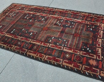 Vintage Baluch rug, Tribal rug - 3'7 x 6'9 - 110 x 205 cm. - Free shipping!