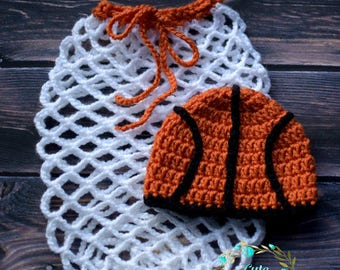Made to order, Crochet Newborn Baby Basketball Photo Prop Set/Basketball Hat/Basketball Hoop/Basketball Net Cocoon/Newborn Sports Outfit Set