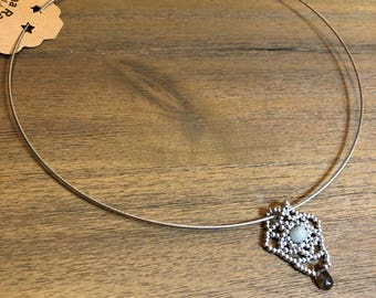 Silver seed bead, smoky quartz and jade necklace