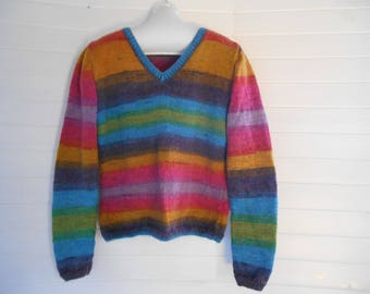 Rainbow wool and angora sweater.