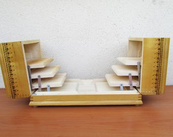 Vintage Wooden Cigarettes Case/  Pirography Wooden Box/  Tobacco case/  Hand Painted Cigarette Box/  Cigarettes Holder/  Retro Box