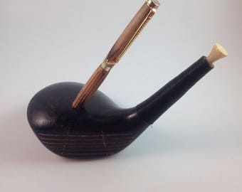 Repurposed Golf Club Pen Holder with Handcrafted Slimline Pen