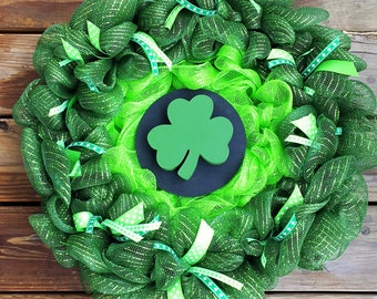 St. Patrick's Day Wreath - St. Patty's Wreath - Saint Patrick's Day Wreath - Shamrock Wreath - St Patty Decor - Irish Wreath - Deco Mesh