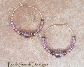 "Beaded Amethyst Copper Rose Gold Hoop Earrings, 1"" Diameter Mystic in Light Amethyst"