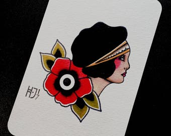 Post card Tattoo Flash fine art print Traditional Girlface