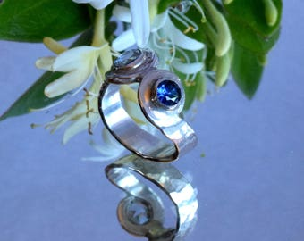 Blue Topaz and Sapphire Hammered Silver Ring