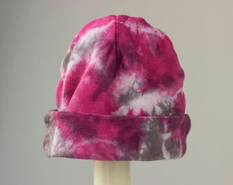Pink + Black Tie-dye Baby Hat, Bamboo + Cotton Knit rolled cap, Baby Shower gift