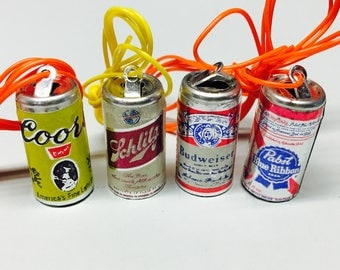 8 vintage 1970's beer can charms (2 Budweiser, 2 PBR, 2 Schlitz & 2 Coors) NOS - Free U.S. Shipping