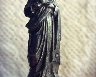 Beautiful statue religious statue of Christ - bronze pedestal old wood
