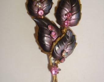 Black Enamel Leaf and Pink Rhinestone Brooch - Made in Austria