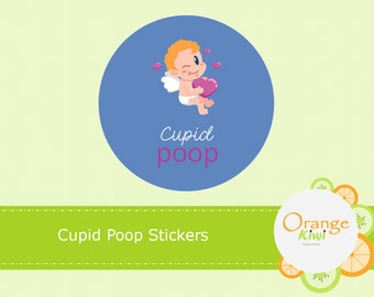 Cupid Poop Stickers, Treat Bag Stickers, Party Favors, Valentine Stickers
