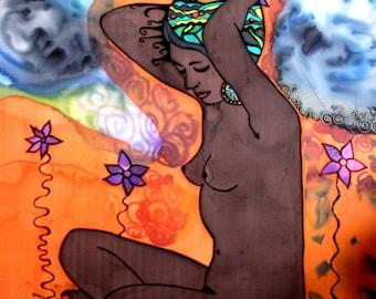 Namibia - painting on silk by Ausra Dajore, abstract art, modern art, mixed art