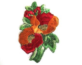 Flower applique 1930s vintage embroidered applique. Vintage floral patch, sewing supply. #6A8G43KB