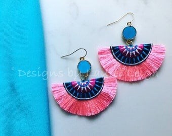 PINK, and TURQUOISE Fringe Earrings | multicolored, hot pink, black, white, statement earrings, lightweight, Designs by, Laurel Leigh