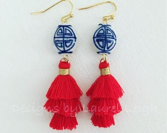 Chinoiserie Red Mini Stacked Tassel Earrings | blue and white, short, ginger jar, gold, dangle, lightweight, oval, dainty, tiered, layered