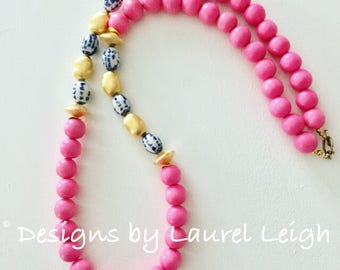 PINK Chinoiserie Beaded Necklace | chunky, long, Asian, bubble gum pink, blue and white, gold