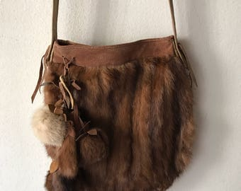 Mink fur hand made bag