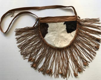 Tremendous bag from real cow fur&leather with fashionable leather fringe new collection designer bag handmade women's brown bag size-small.