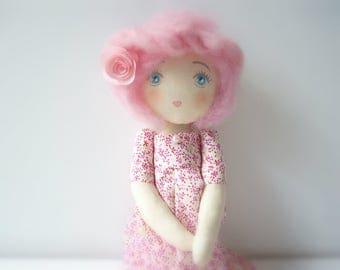 rag doll dress liberty gift birthday or baby pink