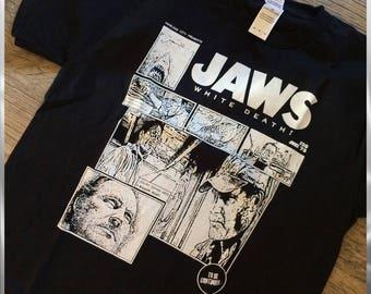 JAWS  - horror movie t-shirt, jaws tshirt, horror film tee, shark clothing, comic style, nameless city apparel, movie shirt