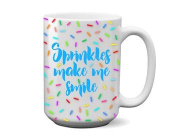 Sprinkles Make Me Smile Coffee Mug (blue)