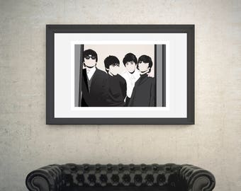 The Beatles, John Lennon, George Harrison, Paul McCartney, Ringo Starr. A4,A3 and A2 Hand and Digitally Drawn Poster. By Mike Moran