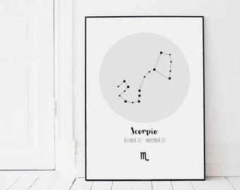 Scorpio Zodiac Constellation Print