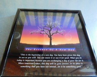 "Vintage Inspirational Photo The Essence of A New Day in Metal Frame 7"" X 7"""