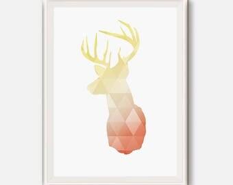 Deer Head, deer antlers, Coral and gold nursery, coral deer, gold deer, geometric animal art, woodlands animal, Triangle print, gold print