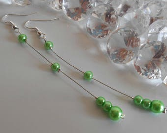 Wedding earrings Pearl green beads