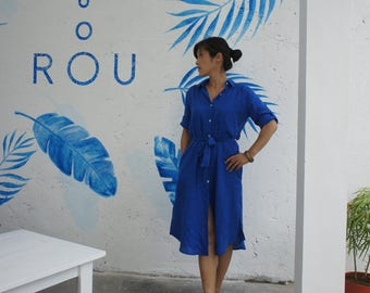 Linen shirt/jacket dress (blue)
