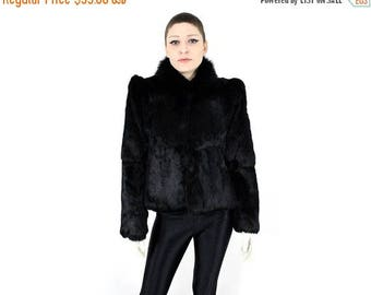 FLASHSALE 35% OFF Vintage 80s 90s Black Avant Garde Structural Puff Sleeve Fur Coat Jacket S