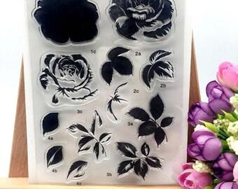 Craft Handmade Cards Clear Rubber Stamps Scrapbook floral Roses Stamp Set CS205