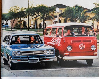 1971 VW Bus ad.  1971 VW station wagon ad.  1971 Volkswagen Bus ad.  Vintage VW Bus ad.
