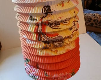 6 Geisha themed paper Chinese lanterns, 6 colors