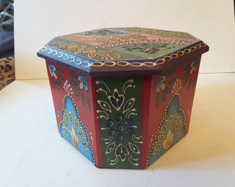 Colorful wooden box from India